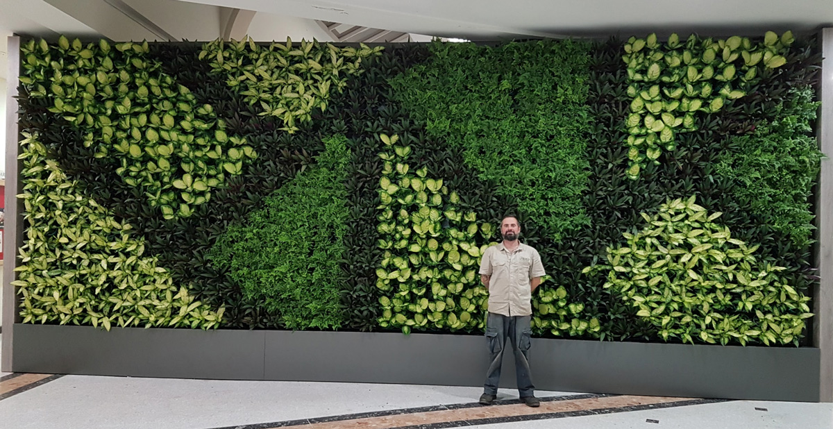 Alessio standing next to a completed vertical gardening wall.