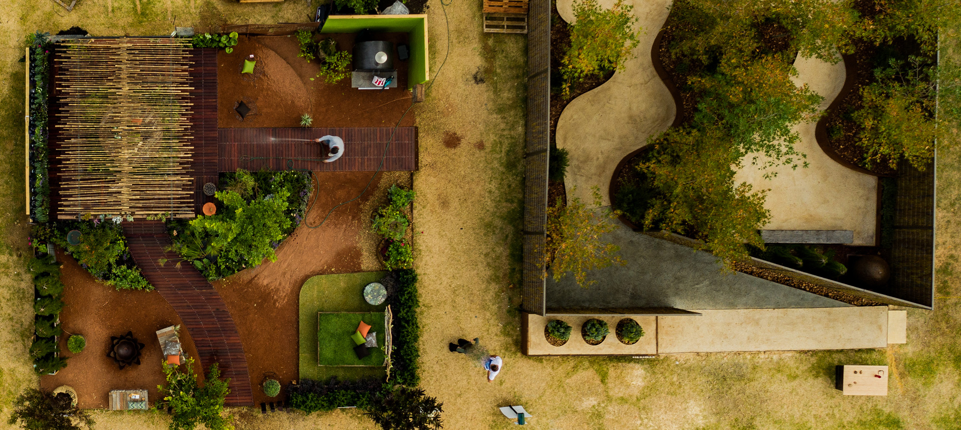 A drone shot of Alessio's Gardens work at the Perth Garden festival