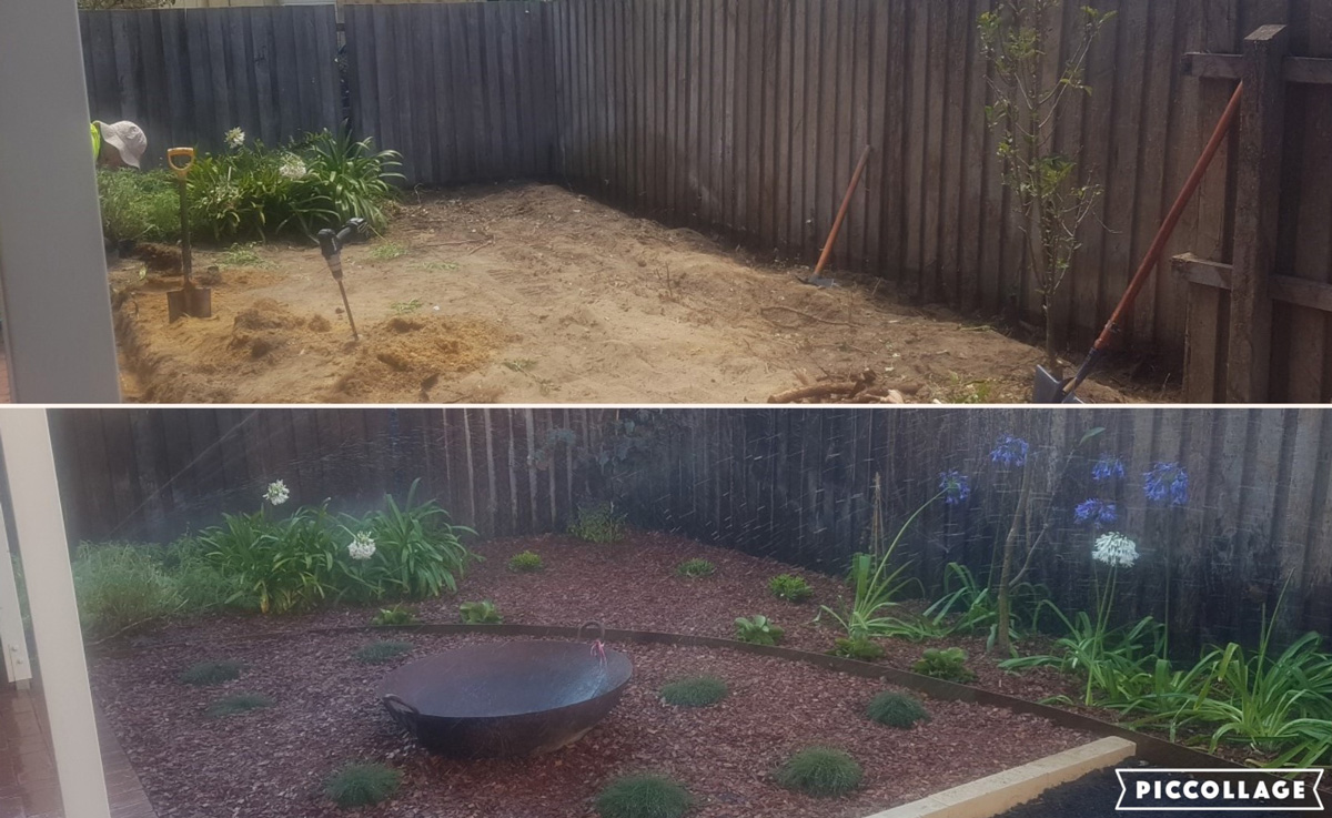 Before and after the installation of a reticulation system