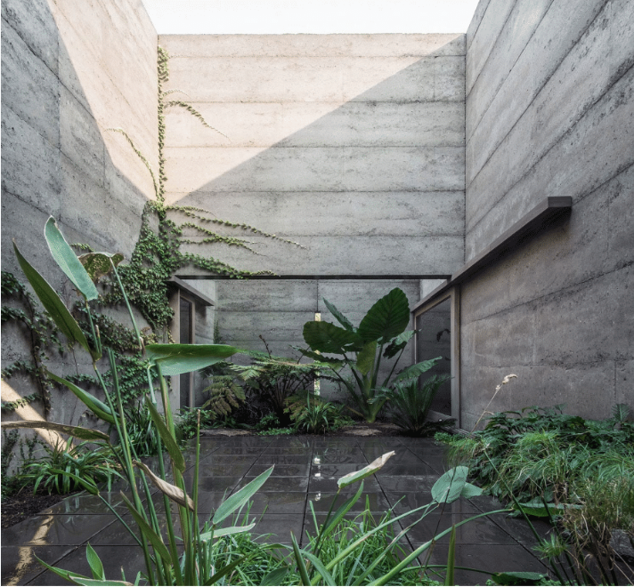 An enclosed garden space away from public.