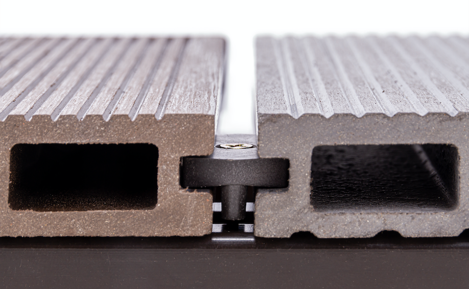 Plastic-based timber composite used for decking outside.
